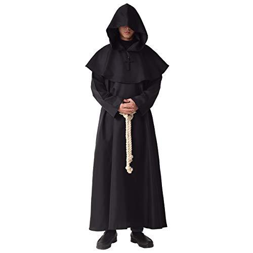 BLESSUME Costume da Monaco Frate Medievale Abito Talare Costume (M, Nero)