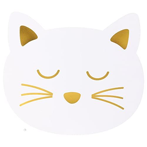 Juego de 2 manteles individuales para niños, diseño de gato blanco