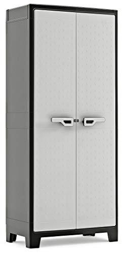 Keter 9760000 Titan Alto XL Impermeabile, Cert. Ipx3 80 X 44 X 182 H, Grigio, 80x44x182 cm, Portata per ripiano 30 kg