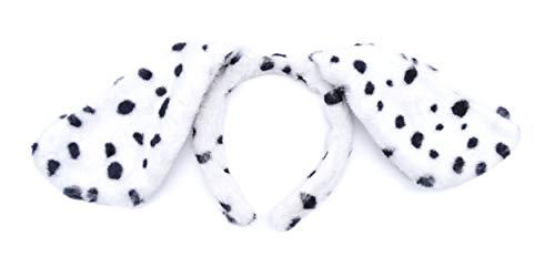 irresistible1 - Cerchietto per cucciolo di cane dalmata in morbido tessuto con orecchie floppy in bianco e nero