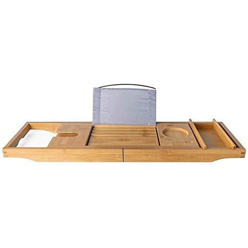 Adesign Baignoire Bambou Caddy Baignoire Plateau avec rallonge côtés intégré dans Le Porte-Livre Tablette Portable Plateau et intégré Porte-Verre à vin et Autres Accessoires de Placement