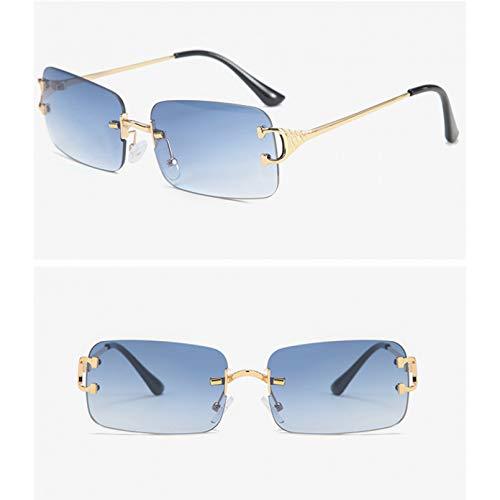SXRAI Gafas de Sol rectangulares Azules sin Montura para Hombre, Gafas de Sol cuadradas de Moda de Metal para Mujer, Lente degradada sin Marco Uv400,C6