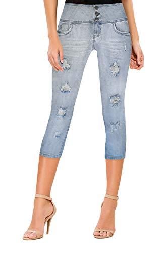 Women Butt Lift 3 Button High Wide Waist Stretch Denim Skinny Jeans Q45057 LWASH 7