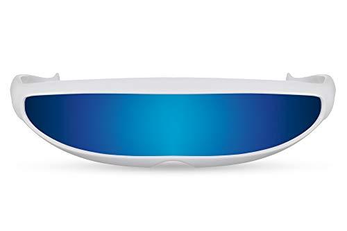 Cheapass Sonnenbrille Weiß Blau Verspiegelt Robocop Verrückst Party Festival Schattierungen