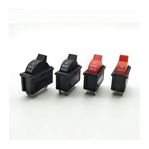 Jgzwlkj Interruptores de botón 2 unids 10A 250V Botón de Control de Velocidad de Viento Rojo Negro Interruptor de Rocker 3 Posiciones 3Pin SPDT Interruptor para secador de Pelo (Color : Black)