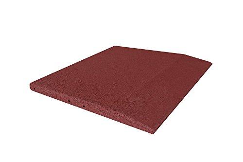 Plaque bord pour cas protection, fond carrelage 50 x 50 x 3 cm en caoutchouc, rouge