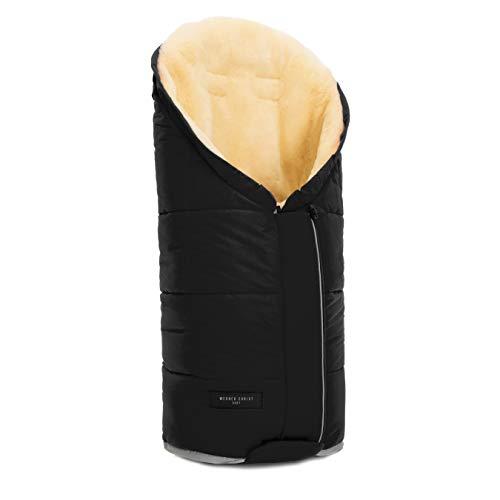 Lammfell Kinderwagen-Fußsack TULAVARIO von WERNER CHRIST BABY – Buggy Lammfellfußsack aus medizinischem Fell, als Krabbelmatte, Spieldecke verwendbar, in black (schwarz)