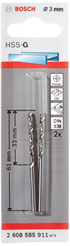 BOSCH 2608585911 - Broca para metal HSS-G DIN338: 3,0 x33 x61: 2 uds