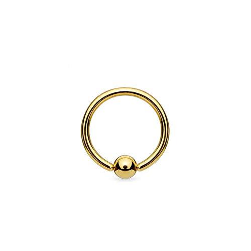 Piercing Barbell Hoop Ball druk 4 mm - geel goud 9 karaat (375)