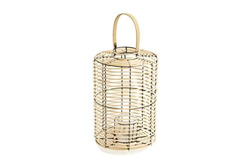 LIFA LIVING Laterne aus Bambus in Natur, Boho Kerzenhalter aus Rattan in Creme, Dekorative Rattan-Laterne mit Glas Windlicht, 28 x 45 cm