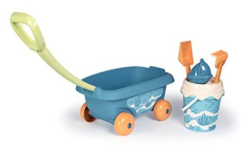 Smoby Green-Strandwagen mit Eimer, Schaufel, Rechen, Sieb und Form mit Griff, für Kinder ab 18 Monaten (867011)