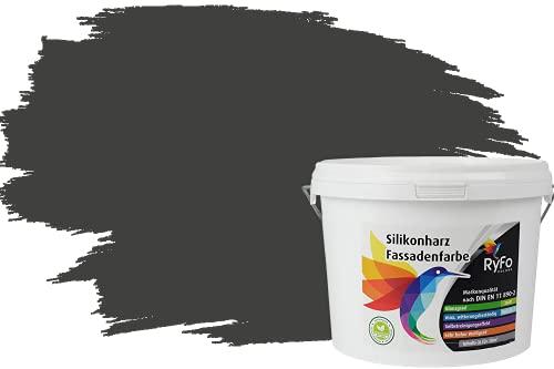RyFo Colors Silikonharz Fassadenfarbe Lotuseffekt Trend Anthrazitgrau 3l - bunte Fassadenfarbe, weitere Grau Farbtöne und Größen erhältlich, Deckkraft Klasse 1