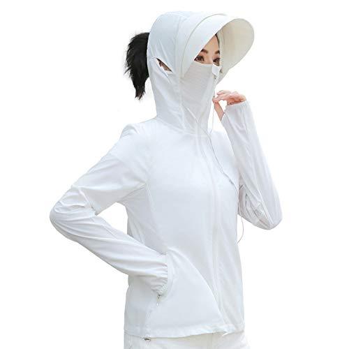 ラッシュガード、パーカー、レディース、UPF50、日焼け防止、紫外線対策、UVプロテクション、花粉塵防止、アウトドア、スポーツ、マスク付き、ポケット付き、長袖 (ホワイト, L)
