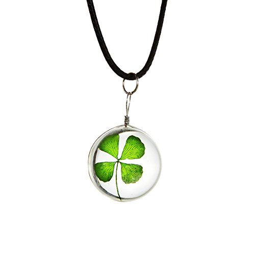 Beautiful Pressed Dried Four-Leaf Clover Transparent Glass Pendant Necklace Round Ball for Girl Women Mother Day Gift