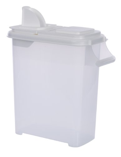 Large (Up to 22lb) Fresh Dry Dog & Cat Food Plastic Storage Container With Flip Lid & Pour...