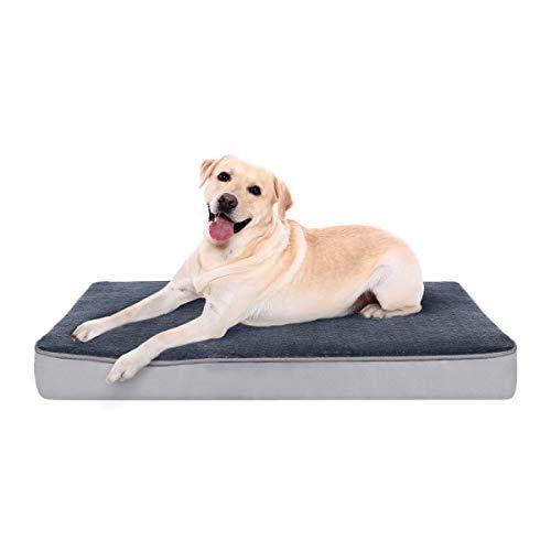 Focuspet Hundekissen, Hundematte für Große Mittlere Kleine Hunde 100x75/89x56/74x46/61x41cm Orthopädisches Hundebett Hundematratze mit Memory Foam Weich rutschfest Waschbar