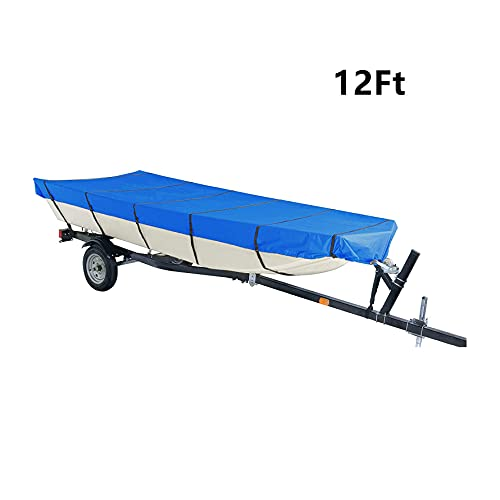 munirater Boat Cover Heavy Duty Trailerable Replacement for Jon Boat Beam Width Up to 56 Inch and for Jon Boat Covers 12 Foot Waterproof Blue