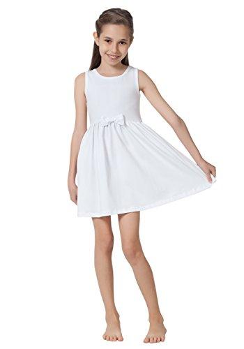 Caomp Girls Casual Sleeveless Swing Dress, Organic Cotton, Spandex, Scoop Neck, Tagless White 5-6