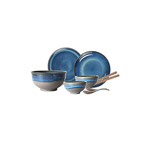 Cena 9 PCS Juego de vajilla de cena de cerámica azul pavo real de estilo japonés Bandeja plana Platos de porcelana Vajilla Bandeja de pastel Sopa de arroz Tazón de fideos Plato de filete (Color: