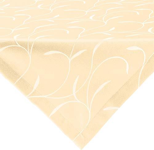 Erwin Müller Tischwäsche, Mitteldecke, Tischdecke Uni, Remscheid Sekt Größe 80x80 cm - hochwertige Qualität mit Fleckschutz ausgerüstet und Kuvertsaum, Rankenmuster (weitere Farben, Größen)