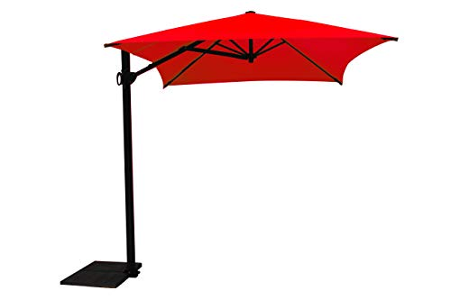 Maffei Art 137r Kronos Parasol deporté rectangulaire cm 300x200, Tissu PolyMa. Made in Italy. Couleur Rouge