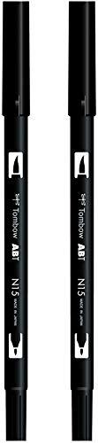 Tombow ABT-N15 - Pennarello a doppia punta con punta doppia, colore: Nero (Confezione da 2)