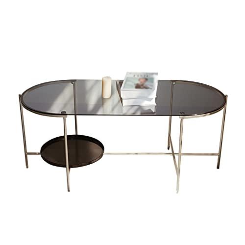 Mesa de Café Mesa de Salón Mesa de centro de café Oval Metal Mesa de té de metal Mesa de estar industrial Mesa de cóctel, usado para la mesa de almacenamiento de decoración de oficina de dormitorio Me