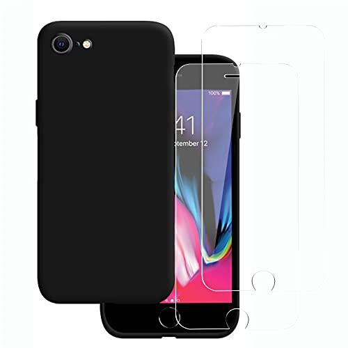 NEW'C Cover per iPhone 7 e iPhone 8 (4.7') in silicone ultra sottile nero e 2× vetro temperato per iPhone 7 e iPhone 8 (4.7'), pellicola protettiva per schermo