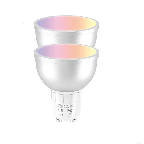 2pcs Smart Wifi LED Bombilla 5W Lámpara regulable GU10 Multicolor LED Bombilla Compatible con Alexa Echo Google Home y IFTTT [Clase de energía A ++]