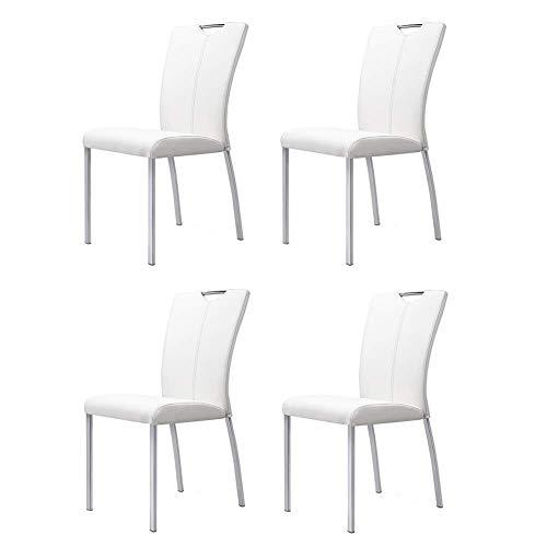 AI LI WEI JUANSHUAI Silla de Ocio para el hogar Modernas sillas de Comedor Simples con Respaldo, Asientos de Conferencia de Oficina. (Color : White, Size : Set of 4)