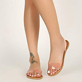 Simple and comfortable slippers Woman Sandals Transparent Jelly Shoes Soft Female Elastic Band Slippers Open Toe Women Outdoor Beach Ladies Slides Summer (Color : Pink, Shoe Size : 9.5)