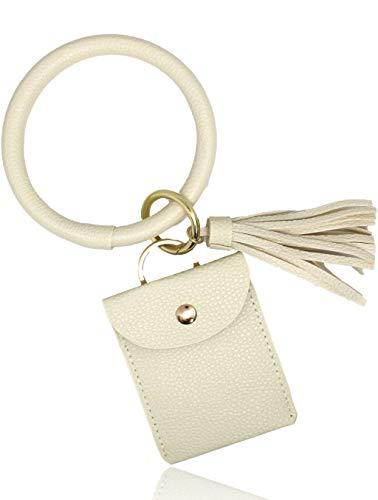 GemRich 革製リングホルダー付 カードケース パスケース 定期入れ カラビナ + タッセル付 レディース ホワイト