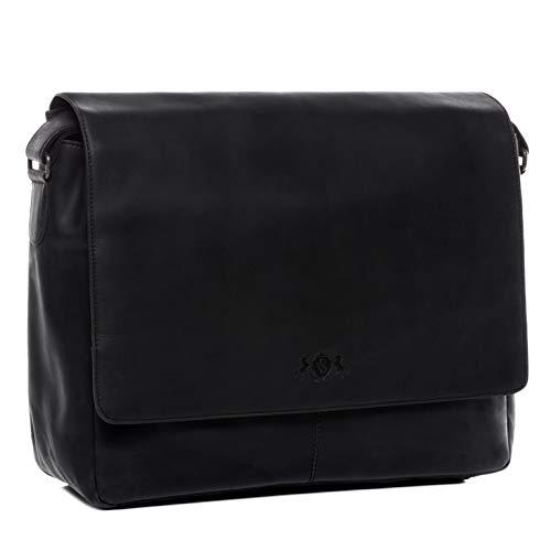 SID und VAIN Laptop Messenger Bag echt Leder Spencer XL groß Businesstasche 15