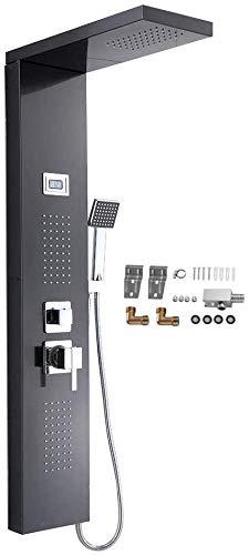 Edelstahl Duschpaneel, 3 Funktionen Duschsäulen Regendusche Duschset Wasserfalldusche, Regendusche mit Wassertemperaturanzeige und 3 Wasserauslässen
