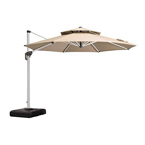 PURPLE LEAF 10 Feet Patio Umbrella Outdoor Round Umbrella Large Cantilever Umbrella Windproof Offset Umbrella Heavy Duty Sun Umbrella for Garden Deck Pool Patio, Beige