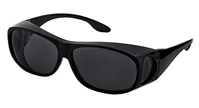 LensCovers Sunglasses Wear Over Prescription Glasses, Size Medium, Polarized