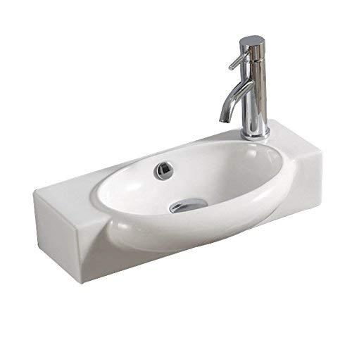 Lux-aqua keramiek wastafel wastafel handwasbak voor wandmontage 4522TR, wit, 50 x 27 x 12 cm