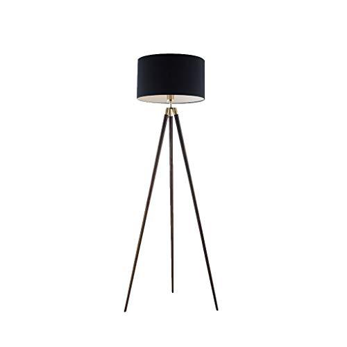 EIU houten vloerlamp driepoot staande lamp zwart vloerlamp voor woonkamer slaapkamer led-vloerlamp, 157cm M20-02-03