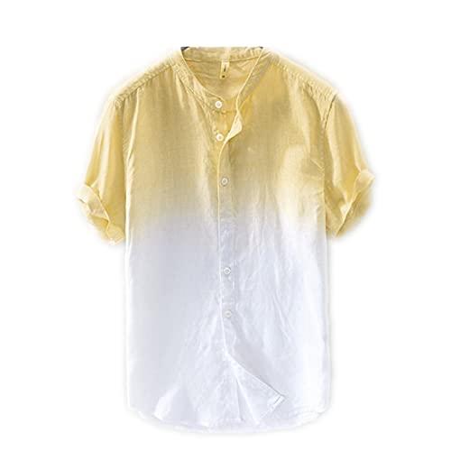SSBZYES Camisas De Hombre Camisas De Verano De Manga Corta para Hombre Camisas De Degradado para Hombre Camisas De Manga Corta De Algodón Y Lino Camisas De Moda