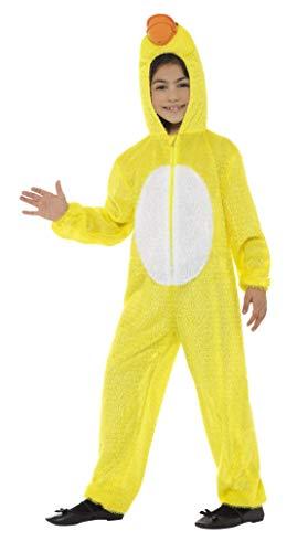 Smiffys 48189 - kinderen unisex eendenkostuum, volledig lichaam pak met capuchon, één maat, geel