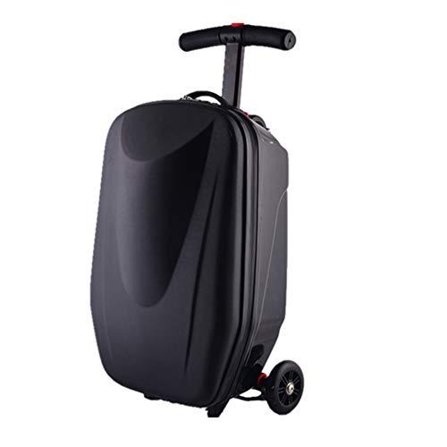 GXHGRASS Multifunktions-Skateboard-Koffer, 20-Zoll-Rollgepäck, PC-Material, PU-Rad, verdickte Stange, Schwarz, Blau,Schwarz
