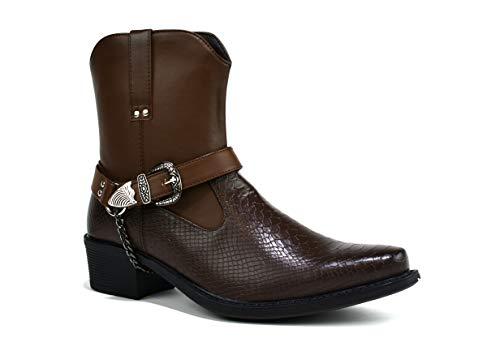 Stivali da cowboy da uomo con tacco cubano, con fibbia a catena, taglia 30-45, Marrone (Marrone), 42 1/3 EU
