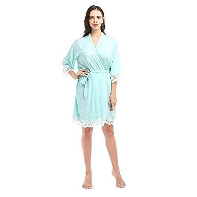 missfashion Womens Kimono Robe Knee-Length Solid Cotton Lace Trim Bride Bridesmaid Bridal Robes for Women Wedding Party