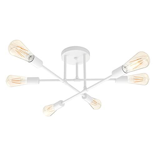 Klighten Lámpara de Techo Vintage con 6 Luces E27 Luz de techo Interior Retro Lámpara Sputnik Metal Lámpara de araña para Sala, Dormitorio, Comedor, Cocina, Bombilla no Incluida, Blanco