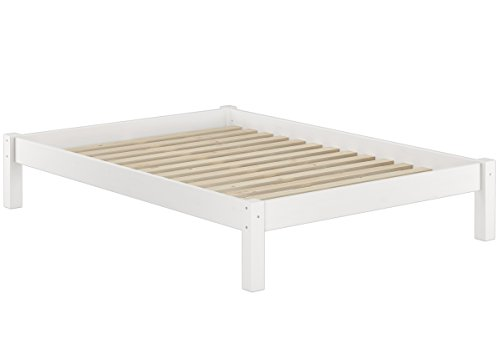 Erst-Holz® Weißes Bettgestell Kiefer Doppelbett 140x200, Massivholzbett mit Rollrost 60.35-14 W