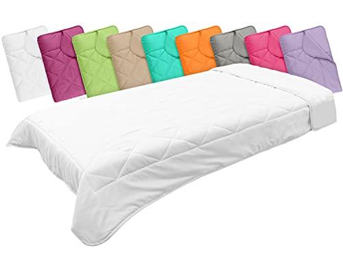 npluseins Leichtsteppbett in 3 Größen & in 9 modernen Farben, ca. 135 x 200 cm, weiß