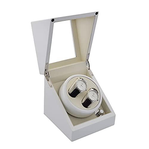 Caja de almacenamiento de Winder de reloj automático doble para 2 relojes AC o batería con motor Super silencioso relojes Dual Relojes de almacenamiento de rotación Caja de visualización para relojes