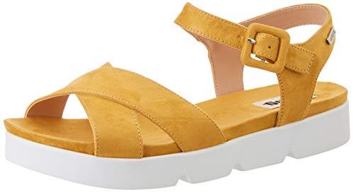 Sandalia amarillas de correas de piel para Mujer