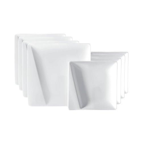 Domestic Mäser 925359 Quadro Pi Tafelservice, für 4 Personen, weiß, 8-teilig (1 Set)