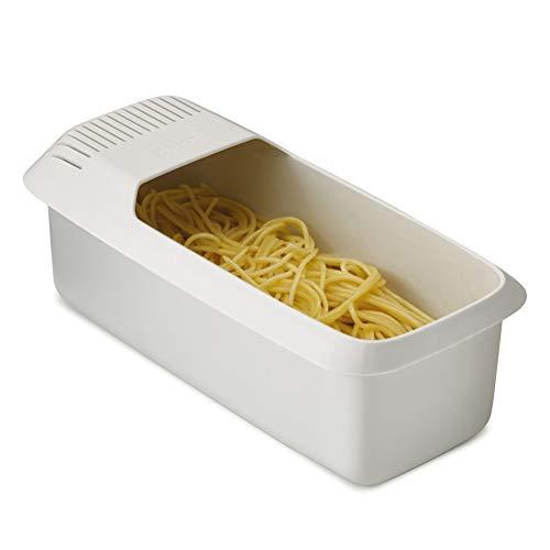 Suszian Utensilios de Cocina Cuenco de Espagueti, Olla de Pasta de microondas con colador, vaporizador de Pasta Resistente al Calor, Cocina de Fideos con Espagueti, 30 * 14 * 10 cm